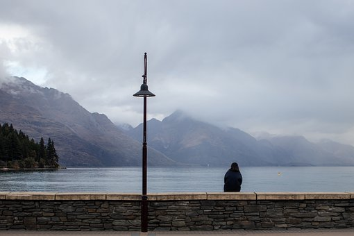 New Zealand, Queenstown, Lake, Woman, Sitting, Nature