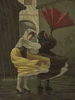 Women, Rain, Umbrella, Wind, Dress, Nature, Poster