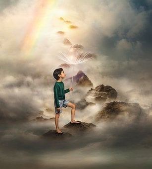 Boy, Dandelion, Clouds, Rainbow, Rocks, Heaven, Path
