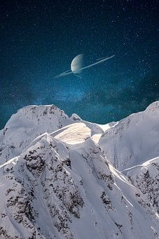 Mountains, Saturn, Space, Landscape, Planet