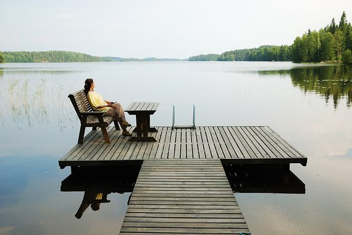 Lake, Platform, Wooden Platform, Woman, Resting