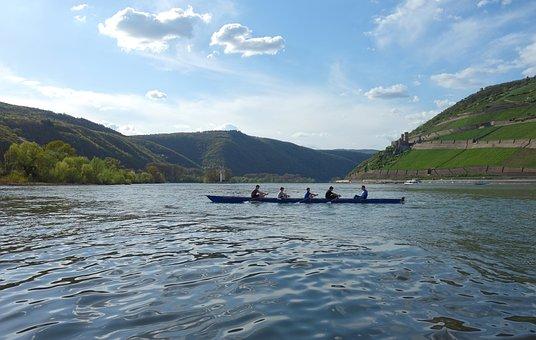 Bingen Am Rhein, Mittelrheintal, Rhein, Ruderer, Rhine