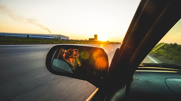 Mirror, Side Mirror, Mirror Shot, Camera, Sunset, Ride