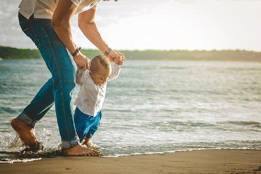 Child, Boy, Smile, Father, Dad, Beach, Sand, Ocean