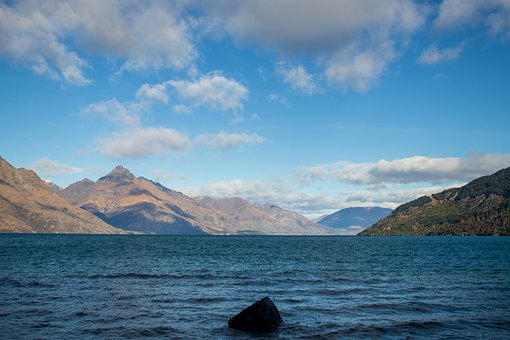 Queenstown, Lake, Water, Sky, Nature, Landscape