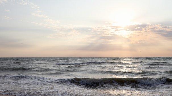 Sea, Ocean, Beach, Sky, Sunrise, Sun, Sunrays