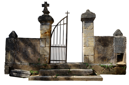 Entrance, Cemetery, Antique, Old Gate, Stonework