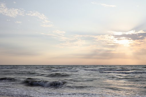 Sea, The Sea Of Azov, Sunrise, Horizon, Sky, Background