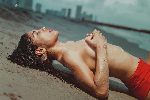 Woman, Model, Pose, Topless, Nude, Beach, Sand, Girl