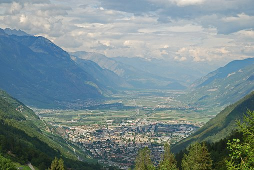 Mountain, Alps, Valley, Town, Buildings, Slope, Forest