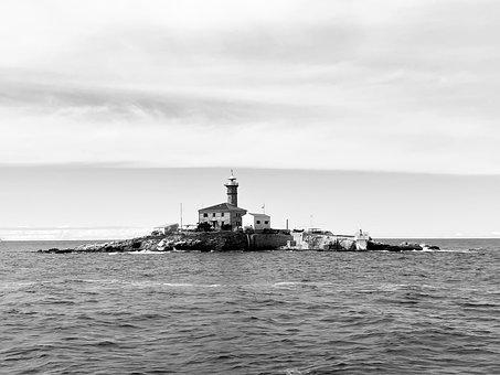 Lighthouse, Sea, Ocean, Boat, Light, Sky, Twilight