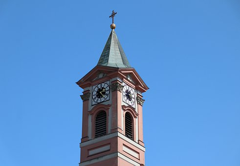 Church, Tower, Building, Cross, City, Clock