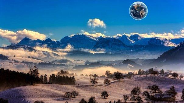 Earth, Globe, Planet, World, Clouds, Moon, Galaxy
