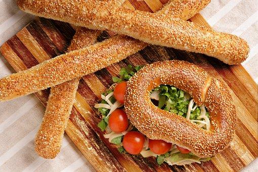 Bread, Bagel, Pretzel, Food, Breakfast, Bakery
