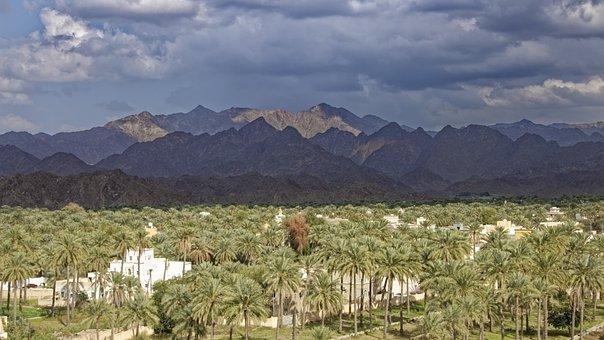Oman, Rustaq, City, Oasis, Hajar Mountains