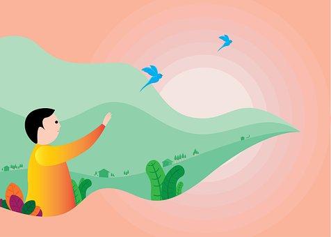 Boy, Bird, Cartoon, Morning, Gardener, Scenery, Sun