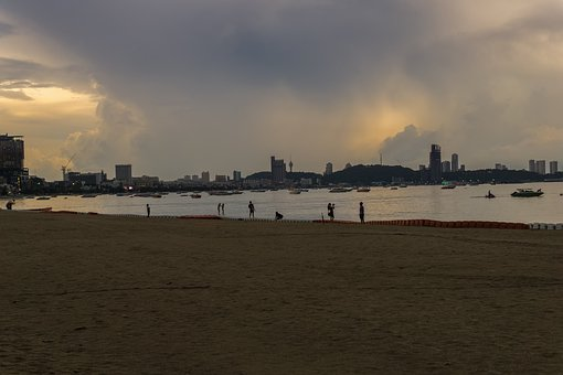 Beach, Sand, Bank, Sea, Building, Water, City, Sky