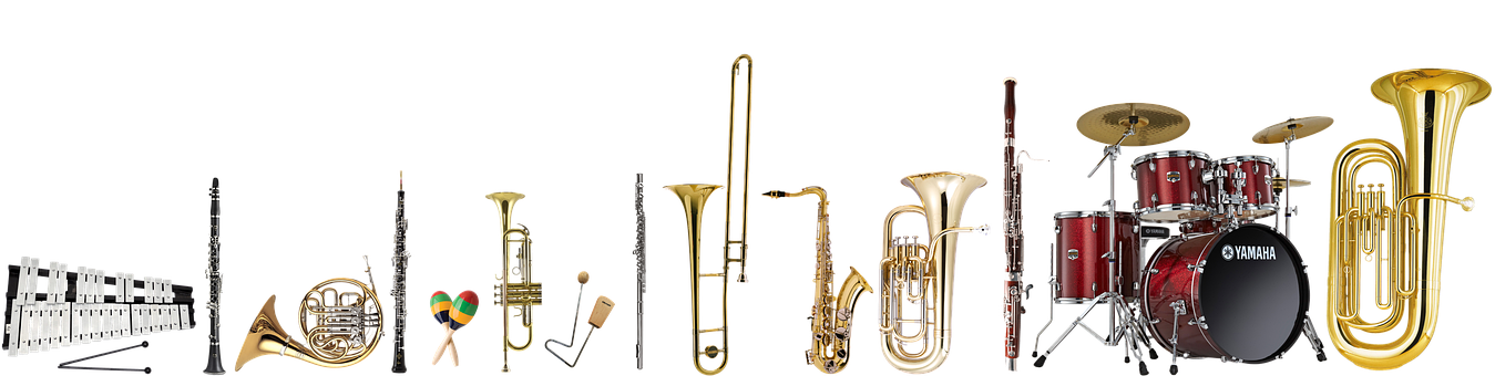 Musical Instruments, Trumpet, Trombone, Low Tube, Drums