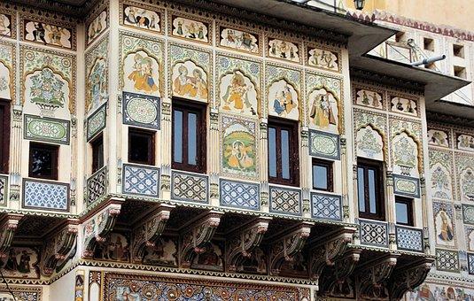 India, Shekhawati, Haveli, Building, House, Facade
