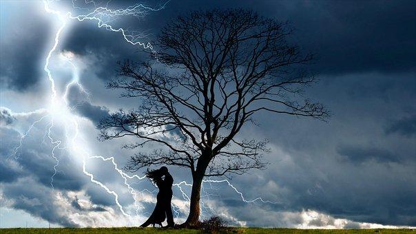 Lightning, Love, Silhouette, Light, Dark, Storm, Lights