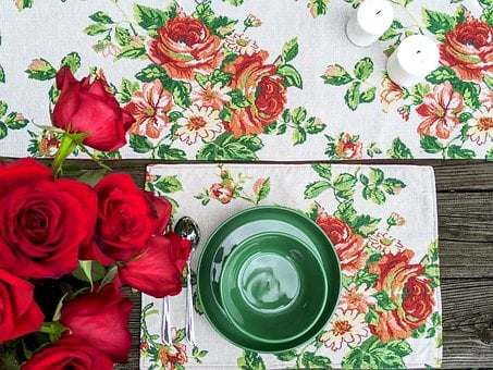 Table Runner, Placemat, Floral, Rose, Love, Wedding
