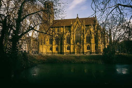 Church, Building, Trees, Lake, Water, Architecture
