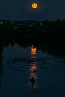 Moon, Full Moon, Evening, River, Reflection, Night Time