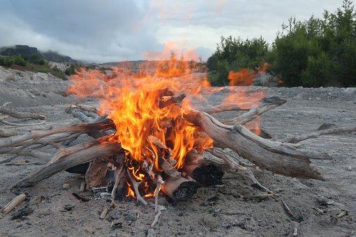 Koster, Fire, Flame, Camp, Coals, Firewood, Spark