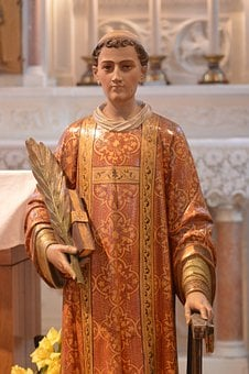 Statue, Saint, Laurent, Deacon, Martyr, Palm Leaf