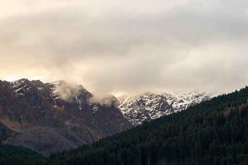 Mountains, Snowy Mountains, Forest, Foggy, Fog