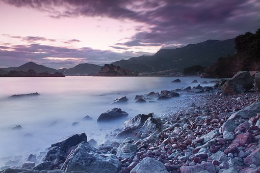 Montenegro, Sea, Sunset, Afterglow, Water, Beach