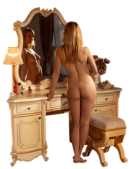 Woman, Furniture, Mirror, Naked, Boudoir, Nude, Bedroom