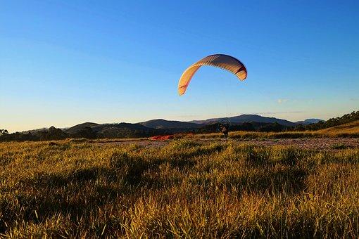 Paragliding, Field, Landscape, Horizon, Radial Sport