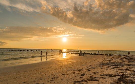 Sea, Ocean, Sun, Sunset, Island, Sky, Water, Clouds