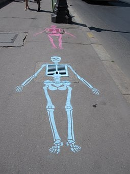 Skeleton, Sewer, Chalk, Art, Street Art, Asphalt