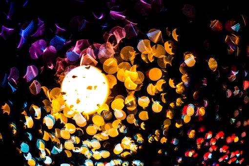 Bokeh, Lights, Night, Car Driving, Illusion, Motion