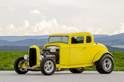 Classic Car, Yellow, Hot Rod, Car, Classic, Vintage