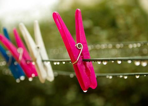 Pins Laundry, Rain, Drop Of Water, Clothespin