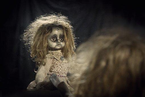Doll, Doll Looking In Mirror, Creepy, Spooky, Horror