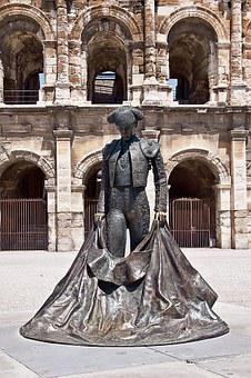 Torero, Arena, Nimes, France, South Of France, Statue