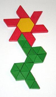 Geometric, Blocks, Flower, Hexagon, Triangle, Trapezoid