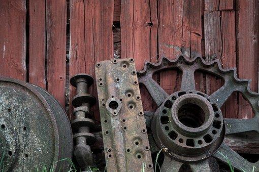Rusty Wheel, Retro, Red Wall, Old, Wheel, Rusty
