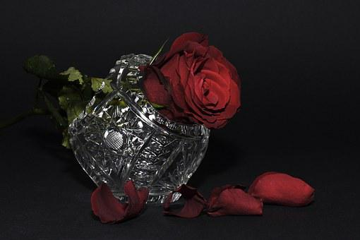Rose, Red Rose, Rose Petals, Crystal Basket, Crystal