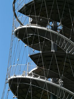 Stairs, Spiral Staircase, Metal, Gradually, Ropes