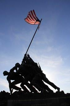 Statue, Flag, Hero, American, Soldier, Monument