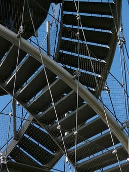 Stairs, Stair Step, Metal, Gradually, Ropes