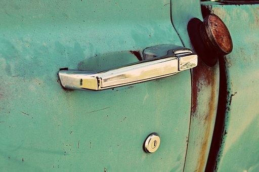 Vintage, Antique, Truck, Green, Door, Handle, Gas, Rust
