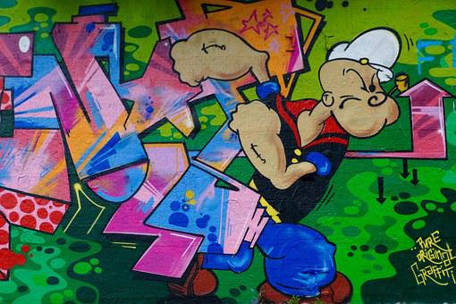 Graffiti, Popeye, Wall, Art, Cartoon Character