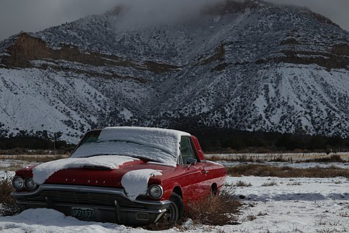 Car, Snow, Abandoned, Rust, Antique, Red, Mountain