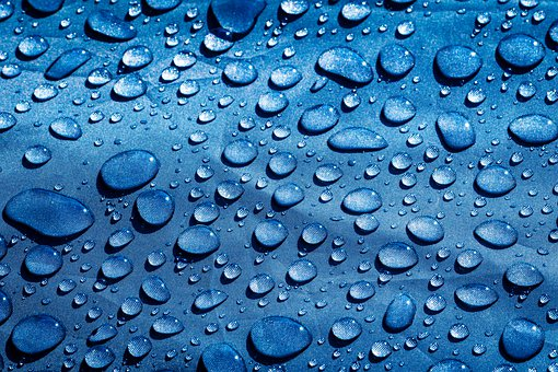 Raindrops, Droplet, Water, Drops, Light Blue, Rain, Wet